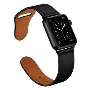 NEW Black Genuine Leather For Apple Watch
